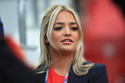 Megan Davison, girlfriend of Jordan Pickford during the FIFA World Cup 2018, round of 16 match at the Spartak Stadium, Moscow. PRESS ASSOCIATION Photo. Picture date: Tuesday July 3, 2018. See PA story WORLDCUP England. Photo credit should read: Adam Davy/PA Wire. RESTRICTIONS: Editorial use only. No commercial use. No use with any unofficial 3rd party logos. No manipulation of images. No video emulation