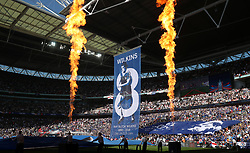A Chelsea banner celebrating the late Ray Wilkins during the Emirates FA Cup Final at Wembley Stadium, London.