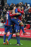 Crystal Palace's Scott Dann celebrates with his team mates after scoring his sides equaliser to make it 1-1. Barclays Premier league match, Swansea city v Crystal Palace at the Liberty Stadium in Swansea, South Wales on Saturday 6th February 2016.<br /> pic by David Richards, Andrew Orchard sports photography.