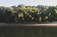 A man fishes on a bank of the Dniester River near Tiraspol, Transnistria.