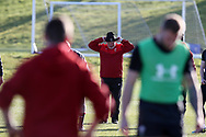 Warren Gatland , the Wales rugby team head coach (c) during the Wales rugby team training session at the Vale Resort  in Hensol, near Cardiff , South Wales on Tuesday 20th February 2018.  the team are preparing for their next NatWest 6 Nations 2018 championship match against Ireland this weekend.   pic by Andrew Orchard