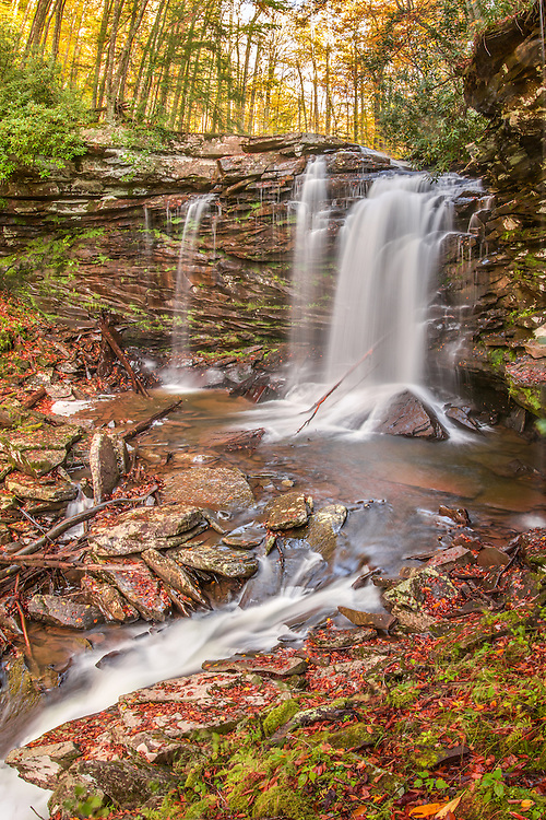 The stones lining the second big falls on Hills Creek are dotted with newly fallen leaves as autumn begins to mark the West Virginian landscape.