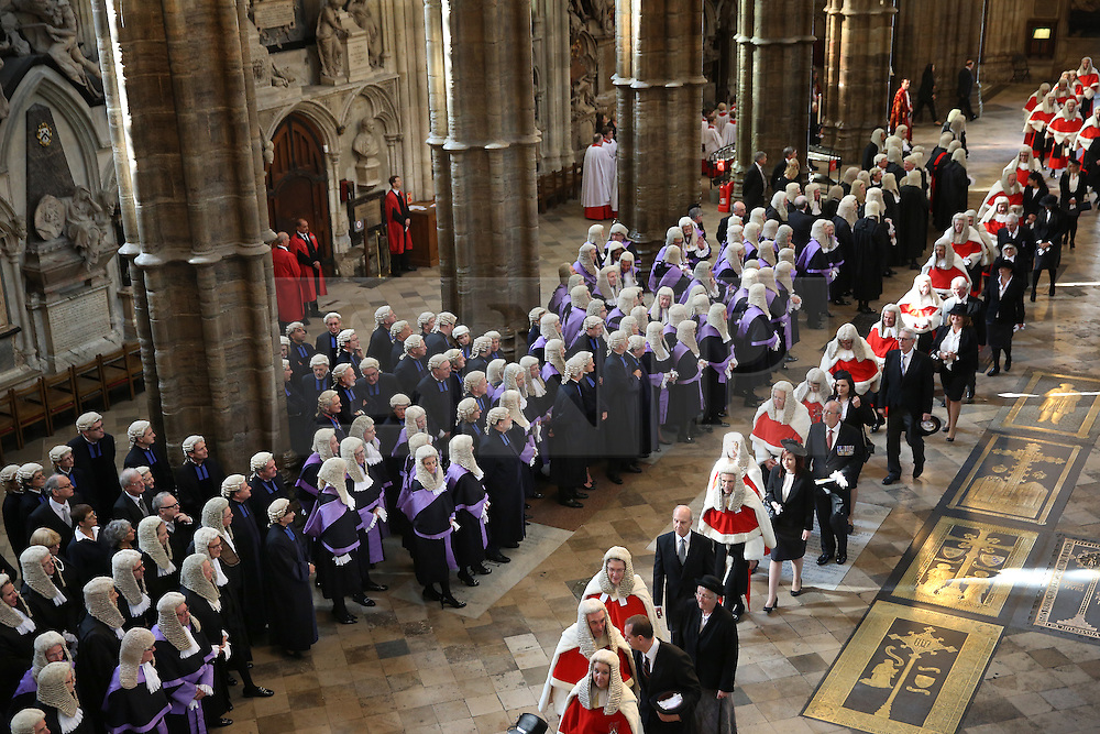 © Licensed to London News Pictures. 01/10/2015. London, UK. Judges process through Westminster Abbey as they take part in the annual Judges Service. The Service heralds the start of the legal year in the United Kingdom. Photo credit: Peter Macdiarmid/LNP