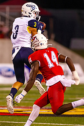 NORMAL, IL - September 21:  Octavious Spencer reels in a pass in front of Luther Kirk during a college football game between the ISU (Illinois State University) Redbirds and the Northern Arizona University (NAU) Lumberjacks on September 21 2019 at Hancock Stadium in Normal, IL. (Photo by Alan Look)