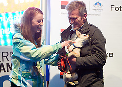 Slovenian 2-times silver medalist alpine skier Tina Maze with fans and dog at reception at Preseren's square when she came from Vancouver after Winter Olympic games 2010, on February 28, 2010 in Center of Ljubljana, Slovenia. (Photo by Vid Ponikvar / Sportida)