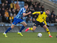 Blackpool's Ben Henegham (left)  vies for possession with Oxford United's Marcus Browne (right) <br /> <br /> Photographer David Horton/CameraSport<br /> <br /> The EFL Sky Bet League One - Oxford United v Blackpool - Saturday 1st February 2020 - Kassam Stadium - Oxford<br /> <br /> World Copyright © 2020 CameraSport. All rights reserved. 43 Linden Ave. Countesthorpe. Leicester. England. LE8 5PG - Tel: +44 (0) 116 277 4147 - admin@camerasport.com - www.camerasport.com