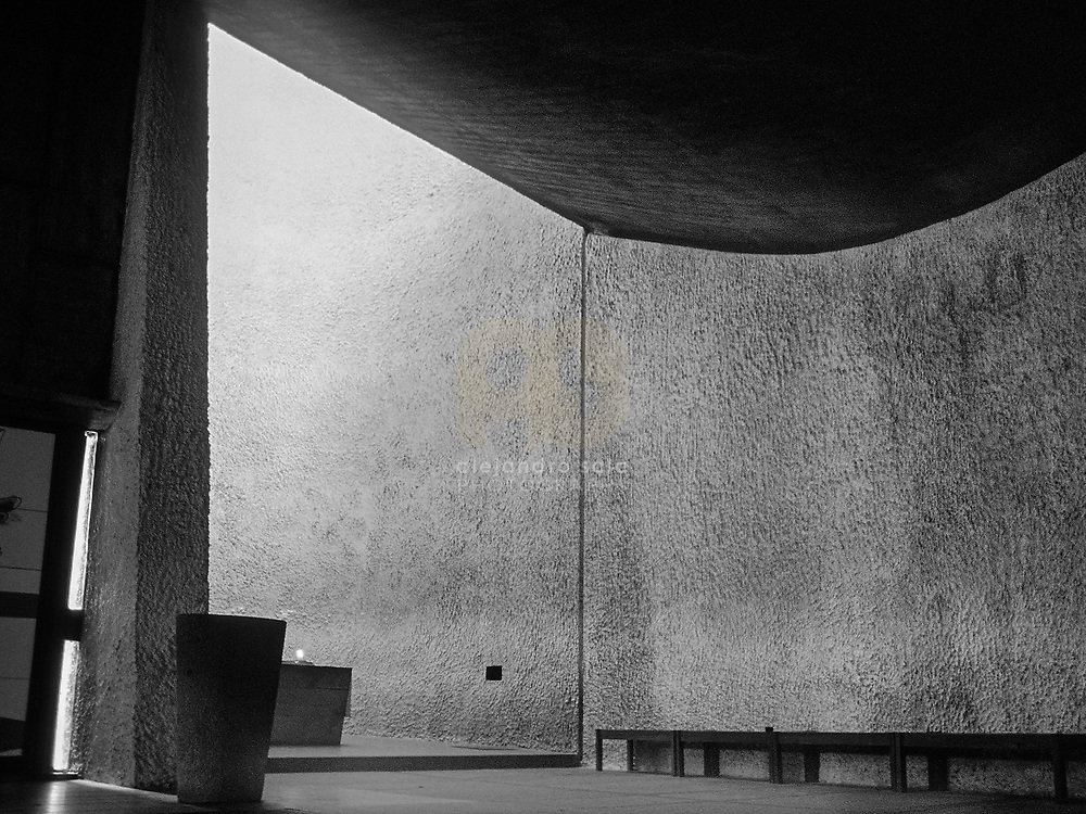 Ronchamp, France, Belfort, 1989: Interior view of the Chapel Notre Dame du Haut (1946)- Le Corbusier arch - Visit Shop Images to purchase and download a digital file and explore other AS images archive. Photographs by Alejandro Sala