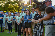 Corey Conners' (CAN) wife, Malory covers her face as the emcee said her reactions were a big hit during the afternoon TV broadcast following Valero Texas Open, at the TPC San Antonio Oaks Course, San Antonio, Texas, USA. 4/7/2019.<br /> Picture: Golffile | Ken Murray<br /> <br /> <br /> All photo usage must carry mandatory copyright credit (© Golffile | Ken Murray)