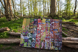 Steeple Claydon, UK. 26th April, 2021. Artwork is pictured in front of surviving woodland at Poors Piece. A strip of the woodland was removed by HS2 Ltd in February 2021. Poors Piece Protection Camp, set up in spring 2020 at the invitation of owner Clive Higgins, is one of several protest camps occupied by environmental activists in order to oppose the HS2 infrastructure project along its Phase 1 route between London and Birmingham.