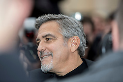 George Clooney leaving the Peoples Postcode Lottery offices.