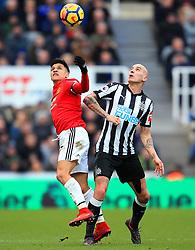 Alexis Sanchez of Manchester United challenges Jonjo Shelvey of Newcastle United - Mandatory by-line: Matt McNulty/JMP - 11/02/2018 - FOOTBALL - St James Park - Newcastle upon Tyne, England - Newcastle United v Manchester United - Premier League