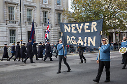 London, UK. 10 November, 2019. Ex-services personnel from Veterans For Peace UK (VFP UK) take part in the Remembrance Sunday ceremony at the Cenotaph alongside the Salvation Army. VFP UK was founded in 2011 and works to influence the foreign and defence policy of the UK for the larger purpose of world peace.