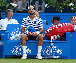 June 22, 2017 - London, United Kingdom - Feliciano Lopez ESP against Jeremy Chardy (FRA) during Men's Singles Round Two match on the fourth day of the ATP Aegon Championships at the Queen's Club in west London on June 22, 2017  (Credit Image: © Kieran Galvin/NurPhoto via ZUMA Press)