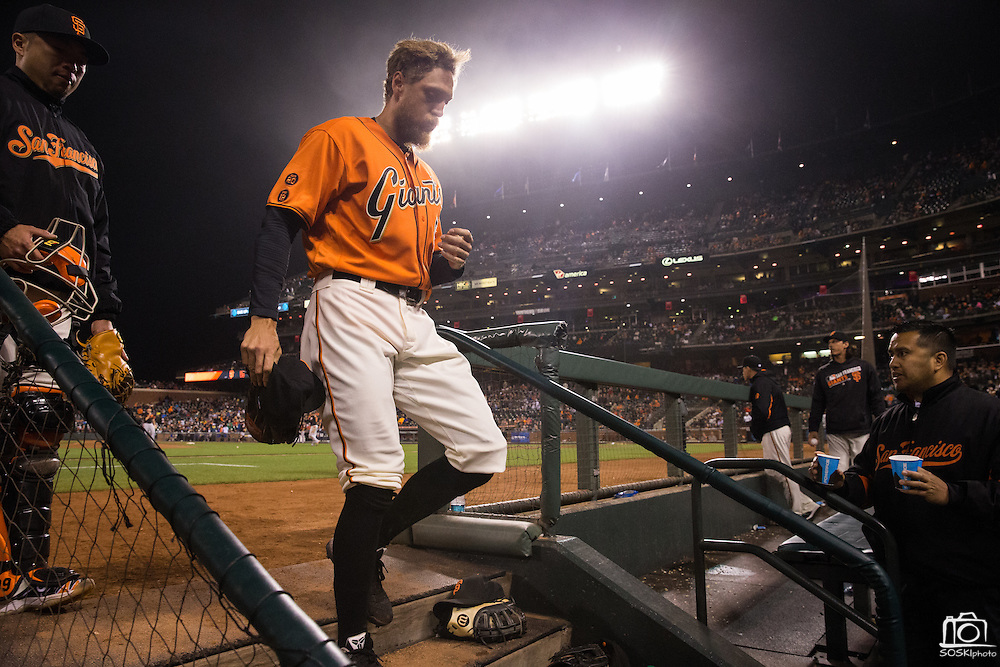 San Francisco Giants right fielder Hunter Pence (8) walks into the dugout before the ninth inning against the Baltimore Orioles at AT&T Park in San Francisco, Calif., on August 12, 2016. (Stan Olszewski/Special to S.F. Examiner)