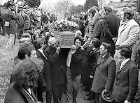Funeral cortete of Senator Billy Fox, 35 years, Protestant, Fine Gael politician, Co Monaghan, Rep of Ireland, 14th March 1974, arrives at Aughamullan Parish Church, Castleblaney. Fox was previously a TD (Irish MP).  He was visiting the home near Clones of his fiancee, Marjorie Coulson, which unknown to him had been taken over by thirteen armed paramilitaries. He ran from the scene but was followed and shot dead in a nearby field. Five members of the Provisional IRA were subsequently tried and convicted of the killing. 197403140164g.<br />
