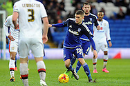 Cardiff City's Stuart O'Keefe (c) goes on the attack. Skybet football league championship match, Cardiff city v MK Dons at the Cardiff city stadium in Cardiff, South Wales on Saturday 6th February 2016.<br /> pic by Carl Robertson, Andrew Orchard sports photography.