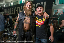 Dumptruck Stroupe with Harley-Davidson's MIchael Spaeth at the HD sponsored Friday evening party in the hotel parking lot before the Race of Gentlemen. Wildwood, NJ, USA. October 9, 2015.  Photography ©2015 Michael Lichter.