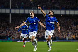 LIVERPOOL, ENGLAND - Monday, September 13, 2021: Everton's Andros Townsend (R) celebrates with team-mate captain Seamus Coleman after scoring the second goal during the FA Premier League match between Everton FC and Burnley FC at Goodison Park. (Pic by David Rawcliffe/Propaganda)