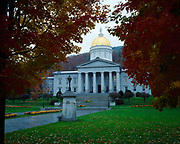 Vermont State Capitol Building on a rainy autumn day, Montpelier, Vermont.