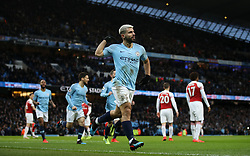 Manchester City's Sergio Aguero celebrates scoring his side's first goal of the game during the Premier League match at the Etihad Stadium, Manchester.