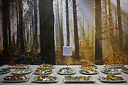 A lunch buffet set out on a table in front of a picture of woodlands.