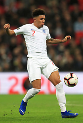 England's Jadon Sancho during the International Friendly at Wembley Stadium, London. PRESS ASSOCIATION Photo. Picture date: Thursday November 15, 2018. See PA story SOCCER England. Photo credit should read: Mike Egerton/PA Wire. RESTRICTIONS: Use subject to FA restrictions. Editorial use only. Commercial use only with prior written consent of the FA. No editing except cropping.