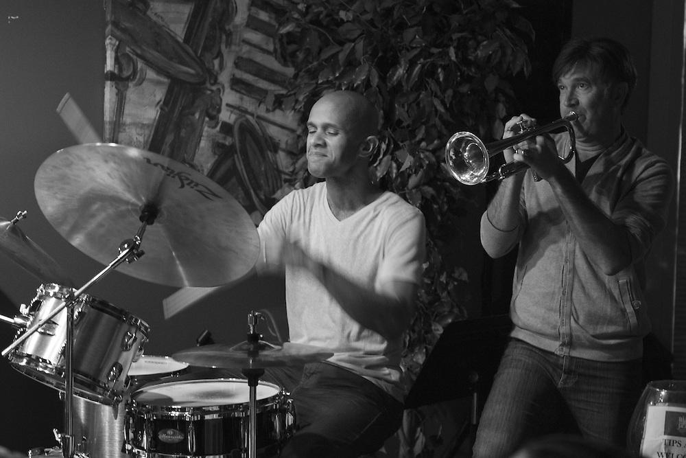 Drummer Marcus Finnie performing with trumpeter Rick Braun live at Nine48Jazz in Nashville, TN