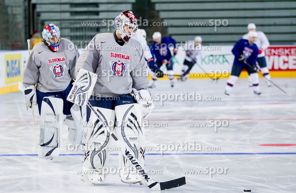 Robert Kristan and Gasper Kroselj during practice session of Slovenian National Ice Hockey team first time in Arena Stozice before 2012 IIHF World Championship DIV I Group A in Slovenia, on April 13, 2012, in Arena Stozice, Ljubljana, Slovenia. (Photo by Vid Ponikvar / Sportida.com)