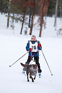 Photo Randy Vanderveen.Grande Prairie , Alberta.13-01-05.Sandy White urges her dog through the race course as she takes part in the skijor event ? dogs pull the musher around the course on skis as opposed to a sled. The Grande Prairie Sled Dog Derby ran two days of races at Evergreen Park this past weekend, Jan. 5 and 6.