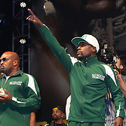LAS VEGAS, NV - SEPTEMBER 12: WBC/WBA welterweight champion Floyd Mayweather Jr. salutes the audience during the official weigh-in at the MGM Grand Garden Arena on September 12, 2014 in Las Vegas, Nevada. Mayweather Jr. will defend his titles against Maidana on September 13 in Las Vegas.  (Photo by Alex Menendez/Getty Images) *** Local Caption *** Floyd Mayweather Jr; Marcos Maidana