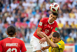 July 3, 2018 - St Petersburg, RUSSIA - 180703 Granit Xhaka of Switzerland and Marcus Berg of Sweden competes for the ball during the FIFA World Cup round of 16 match between Sweden and Switzerland on July 3, 2018 in St Petersburg..Photo: Joel Marklund / BILDBYRÃ…N / kod JM / 87748 (Credit Image: © Joel Marklund/Bildbyran via ZUMA Press)