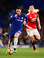 Eden Hazard of Chelsea in action .Premier league match, Chelsea v Manchester United at Stamford Bridge in London on Sunday 5th November 2017.<br /> pic by Andrew Orchard sports photography.