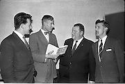 22/02/1963.02/22/1963.22 February 1963.The conclusion of the  inaugural 5-day course in Marketing and Sales Management for Irish executive held by the Sales Advisory Service, 9 Appian Way, Dublin. Picture shows Mr J.F. McEvoy, Director Victoria Saw Mills, Cork, Mr M.H. Coote, Lecturer, Mr D.J. Fitzgibbon Sales Manager with Volkswagen Distributers Ltd and Mr W.E. Stanley, Head of Sales Training, chatting during an interval of the course.