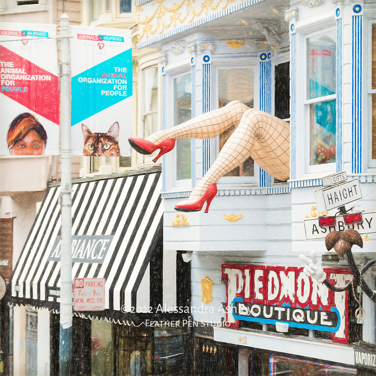 The famous fishnet-clad legs above the Piedmont Boutique on Haight Street,  in San Francisco's Haight-Ashbury district. Colored pencil effects blended with original photograph.