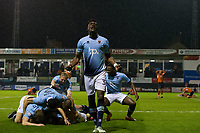 Blackpool's Armand Gnanduillet celebrates with team mates after their sides third goal to win the tie<br /> <br /> Photographer Craig Mercer/CameraSport<br /> <br /> The EFL Sky Bet League Two Play-Off Semi Final Second Leg - Luton Town v Blackpool - Thursday 18th May 2017 - Kenilworth Road - Luton<br /> <br /> World Copyright © 2017 CameraSport. All rights reserved. 43 Linden Ave. Countesthorpe. Leicester. England. LE8 5PG - Tel: +44 (0) 116 277 4147 - admin@camerasport.com - www.camerasport.com