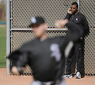 GLENDALE, AZ - FEBRUARY 24:  General Manager Ken WIlliams looks on as Mark Buehrle #56 of Chicago White Sox pitches during a spring training workout on February 24, 2010 at the White Sox training facility at Camelback Ranch in Glendale, Arizona. (Photo by Ron Vesely)