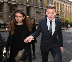 © Licensed to London News Pictures. 28/11/2014. London, UK. Gordon and Tana Ramsay arrive at the High Court in London on 28th November 2014. Mr Ramsay is involved in a legal dispute with film director, Gary Love, over a rental agreement for his York & Albany pub that Ramsay claims was signed by an electronic signature machine and without his consent. Photo credit : Vickie Flores/LNP