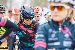 Alexis Ryan takes a moment to focus ahead of the race start being given - 2016 Strade Bianche - Elite Women, a 121km road race from Siena to Piazza del Campo on March 5, 2016 in Tuscany, Italy.