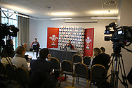 Ken Owens of Wales speaks to the media during the Wales Rugby team press conference at the Vale Resort, Hensol near Cardiff, South Wales on Monday 30th January 2017. The team are preparing for start of this years RBS Six Nations championship which starts this weekend. pic by  Andrew Orchard, Andrew Orchard sports photography.