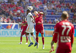 September 30, 2018 - Harrison, New Jersey, United States - Sean Davis (27) of Red Bulls & darlington Nagbe (6) of Atlanta United FC fight for ball during regular MLS game at Red Bull Arena Red Bulls won 2 - 0  (Credit Image: © Lev Radin/Pacific Press via ZUMA Wire)