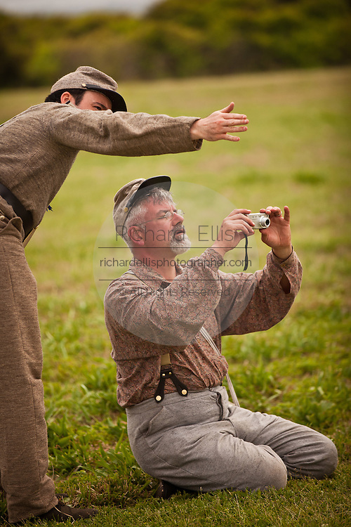 Confederate re-enactors takes a photo with a digital camera during events at Fort Moultrie Charleston, SC. The re-enactors are part of the 150th commemoration of the US Civil War.