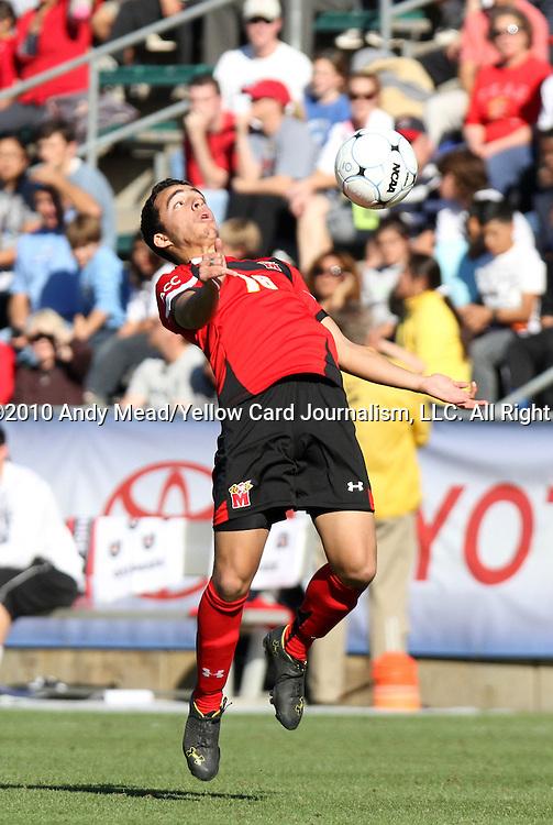 14 November 2010: Maryland's Paul Torres. The University of Maryland Terrapins defeated the University of North Carolina Tar Heels 1-0 at WakeMed Soccer Park in Cary, North Carolina in the ACC Men's Soccer Tournament Championship game.