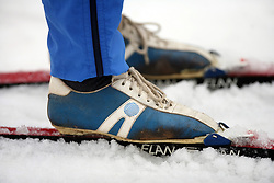 Old cross country shoes of Alpina (30 years) at Alpina presentation of new cross-country shoes with red dot award: product design, on April 24, 2008, in Pokljuka, Rudno polje, Slovenia.  (Photo by Vid Ponikvar / Sportal Images)/ Sportida)