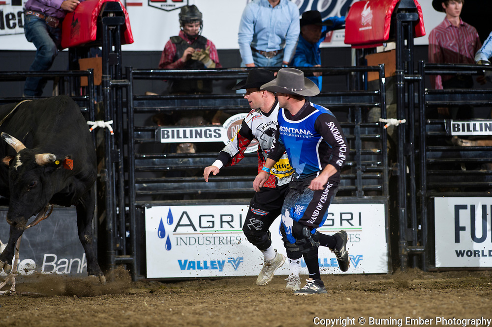 Kaleb Barrett and Nate Jestes with High Riser of Powder River Rodeo at the NILE Rodeo 3rd Perf Oct 19th, 2019.  Photo by Josh Homer/Burning Ember Photography.  Photo credit must be given on all uses.