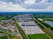 Nederland, Gelderland, Gemeente Barneveld, 21–06-2020; bedrijventerrein Harselaar, industrieterrein aan de A1 met vestiging van Bosch Beton (keerwanden).<br /> Harselaar, industrial estate on the A1 with a branch of Bosch Beton (retaining walls).<br /> <br /> luchtfoto (toeslag op standaard tarieven);<br /> aerial photo (additional fee required)<br /> copyright © 2020 foto/photo Siebe Swart