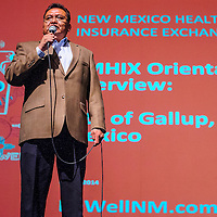 021914       Cable Hoover<br /> <br /> Scott Atole of the New Mexico Health Insurance Exchange explains Native American healthcare options during a presentation at El Morro Theater in Gallup Thursday.