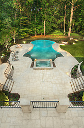 8541_Horseshoe_Pool_above swimming pool Swimming pool House rear exterior Deck patio Verandah Porch Pool pool house