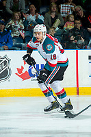 KELOWNA, CANADA - APRIL 30: Carsen Twarynski #18 of the Kelowna Rockets skates with the puck against the Seattle Thunderbirds on April 30, 2017 at Prospera Place in Kelowna, British Columbia, Canada.  (Photo by Marissa Baecker/Shoot the Breeze)  *** Local Caption ***