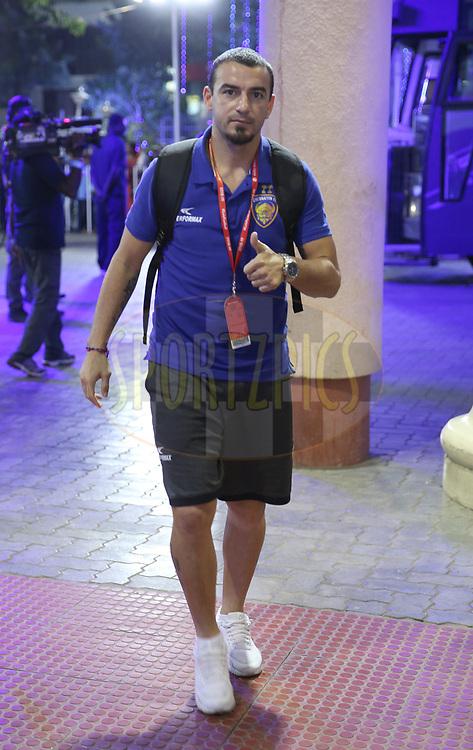 Chennaiyin FC player arrives for the  match 27 of the Hero Indian Super League 2018 ( ISL ) between Chennaiyin FC  and Mumbai City FC  held at the Jawaharlal Nehru Stadium, Chennai, India on the 3rd November 2018<br /> <br /> Photo by: Sandeep Shetty /SPORTZPICS for ISL