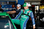 NASCAR Cup Series driver Kyle Larson prepares for a practice run at Kansas Speedway in Kansas City, Kan., Friday, May 11, 2018. (AP Photo/Colin E. Braley)